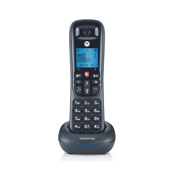 Motorola cd4001 negro teléfono fijo inalámbrico con pantalla y teclado retroiluminado