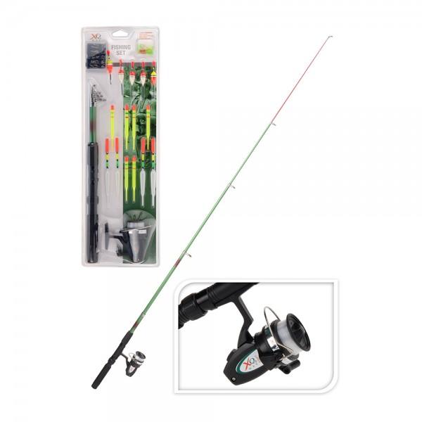 Set de caña de pescar, carrete y accesorios