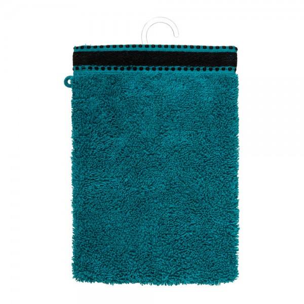 Pack 2ud guante-toalla baño premium color verde petrol 15x21cm